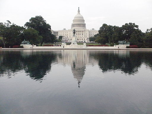 U.S. Capitol in front of the reflecting pool