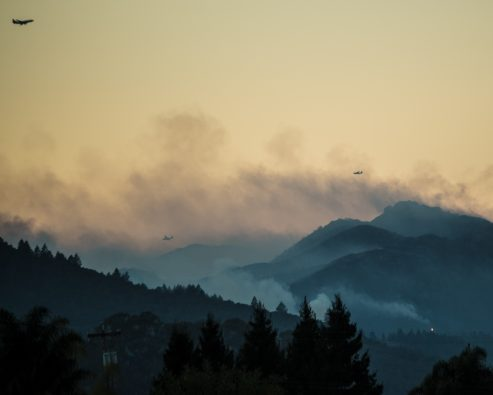 Wildfire smoke covers mountains