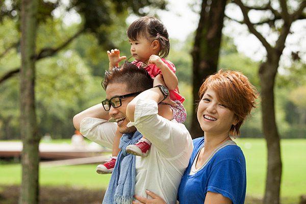 AAPI family enjoys a walk outdoors