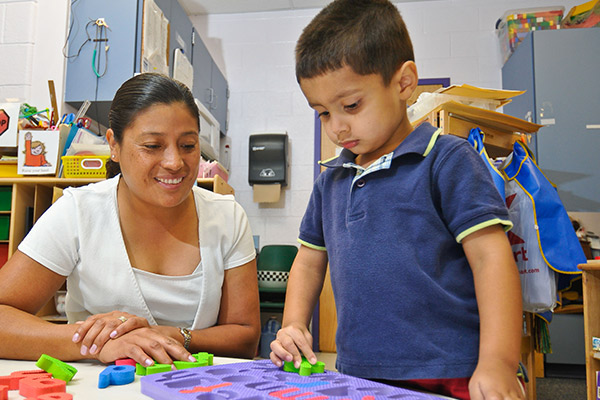a child care provider and young child