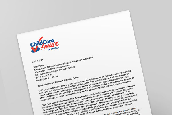CCAoA Letter about the American Rescue Plan Act